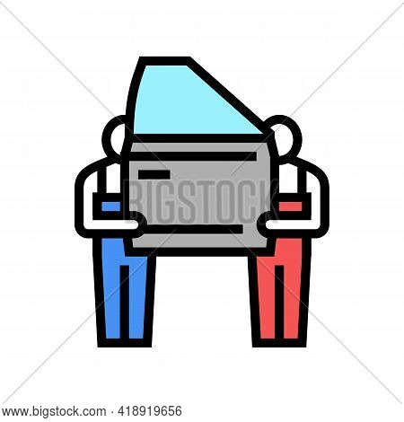 Human Work Car Factory Color Icon Vector. Human Work Car Factory Sign. Isolated Symbol Illustration