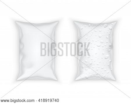Realistic Dry And Wet Plastic Packing Sachet