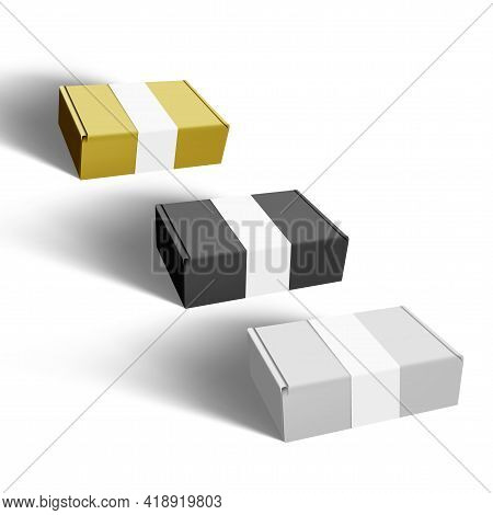White, Black And Gold Cardboard Box Paper Label