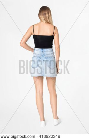 Black tank top with design space women's summer apparel full body and back view