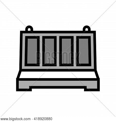 Fence Concrete Color Icon Vector. Fence Concrete Sign. Isolated Symbol Illustration