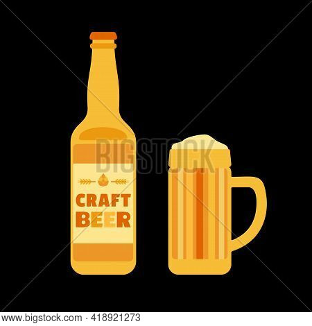 Craft Beer Bottle And Mug Isolated Vector Icon. Beer Glass With Foam Cute Cartoon Design Element. Br