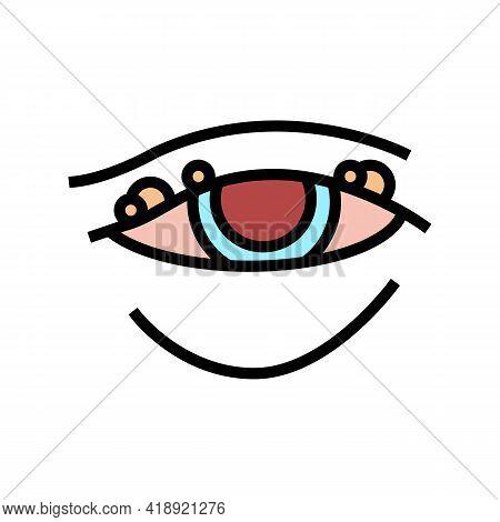 Blepharitis Disease, Redness Of Eyeball Color Icon Vector. Blepharitis Disease, Redness Of Eyeball S