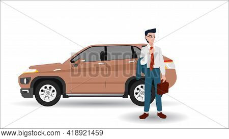 Driving Man In Relax Business Suit. Put A Suit On His Arm. With Luxury Cars In The Back.