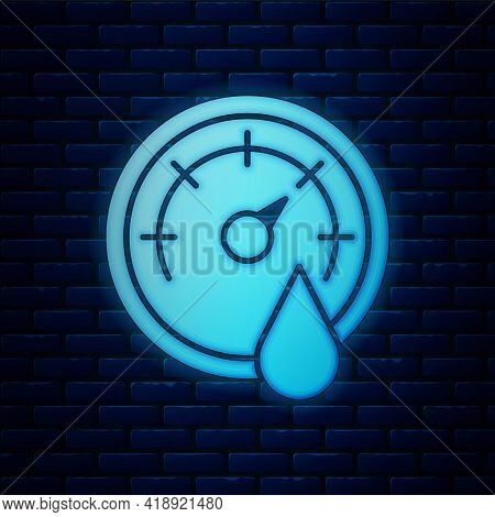 Glowing Neon Sauna Thermometer Icon Isolated On Brick Wall Background. Sauna And Bath Equipment. Vec