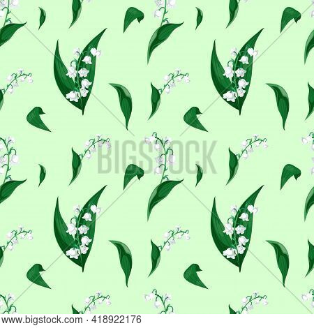 Lilly Of The Valley - May Bells, Convallaria Majalis With Green Leaves On A Light Green Background.