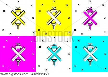 Set No Doping Syringe Icon Isolated On Color Background. Vector