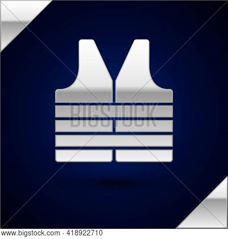 Silver Life Jacket Icon Isolated On Dark Blue Background. Life Vest Icon. Extreme Sport. Sport Equip