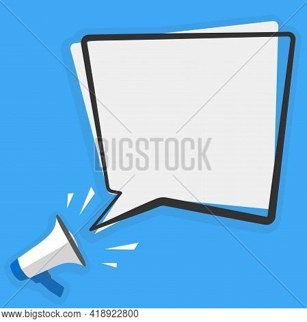 Megaphone Or Bullhorn And Large Speech Bubble With Copy Space Against Blue Background Vector Illustr