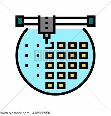Installing Semiconductor On Board Color Icon Vector. Installing Semiconductor On Board Sign. Isolate