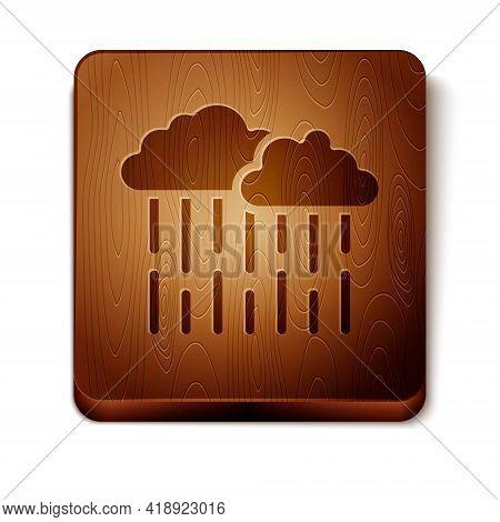 Brown Cloud With Rain Icon Isolated On White Background. Rain Cloud Precipitation With Rain Drops. W