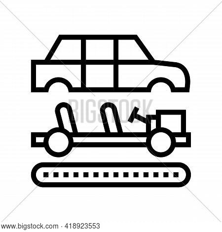 Assembly Of All Car Parts Line Icon Vector. Assembly Of All Car Parts Sign. Isolated Contour Symbol