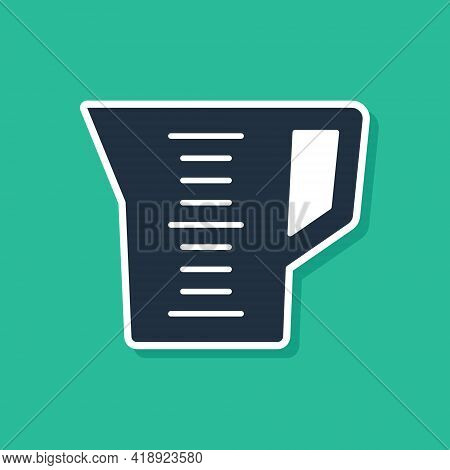 Blue Measuring Cup To Measure Dry And Liquid Food Icon Isolated On Green Background. Plastic Graduat