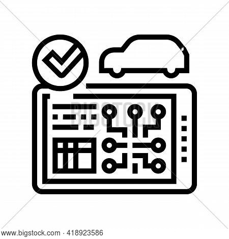 Testing Computer Electronic System Car Line Icon Vector. Testing Computer Electronic System Car Sign