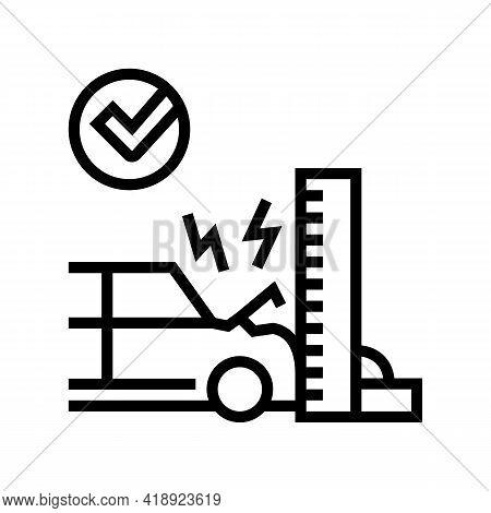 Crash Test Car Line Icon Vector. Crash Test Car Sign. Isolated Contour Symbol Black Illustration