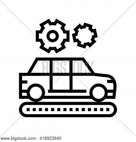 Manufacturing Car Line Icon Vector. Manufacturing Car Sign. Isolated Contour Symbol Black Illustrati