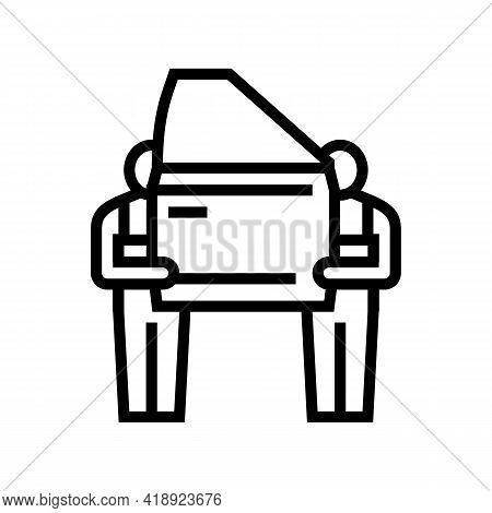 Human Work Car Factory Line Icon Vector. Human Work Car Factory Sign. Isolated Contour Symbol Black