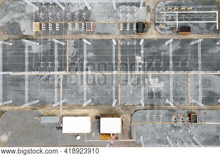Aerial Top View Electric Substation Industry, View From Above High Voltage Tower Electricity, Indust