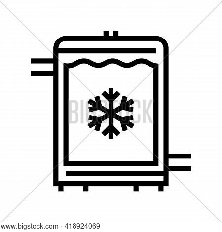 Refrigerator Cheese Production Line Icon Vector. Refrigerator Cheese Production Sign. Isolated Conto