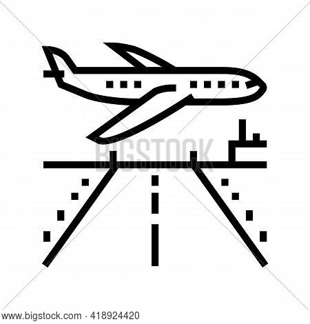 Airport Runway Concrete Line Icon Vector. Airport Runway Concrete Sign. Isolated Contour Symbol Blac