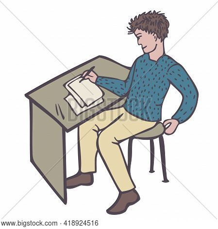 Vector Illustration Of A Happy Man Writing Or Drawing While Sitting At A Table. Satisfied Creator.
