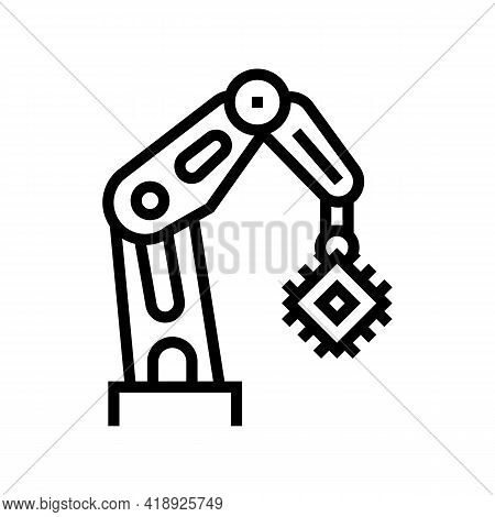 Robotic Arm Semiconductor Manufacturing Line Icon Vector. Robotic Arm Semiconductor Manufacturing Si