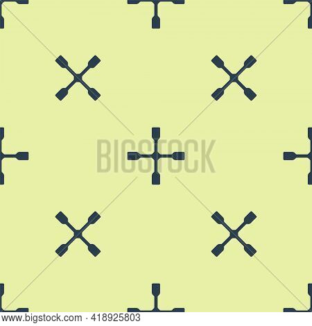 Blue Wheel Wrench Icon Isolated Seamless Pattern On Yellow Background. Wheel Brace. Vector