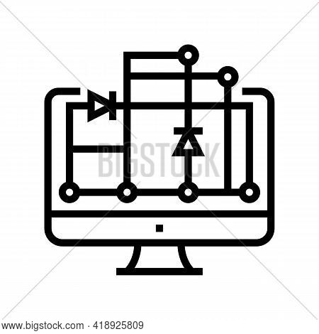Scheme On Computer Screen For Semiconductor Manufacturing Line Icon Vector. Scheme On Computer Scree