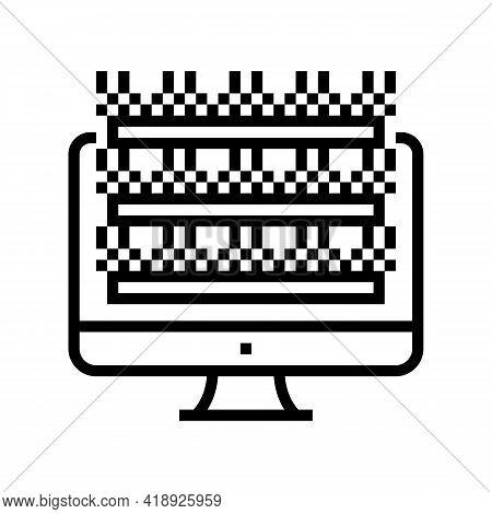 Testing Computer Screen Semiconductor Manufacturing Line Icon Vector. Testing Computer Screen Semico