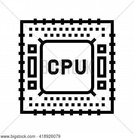 Cpu Semiconductor Manufacturing Line Icon Vector. Cpu Semiconductor Manufacturing Sign. Isolated Con