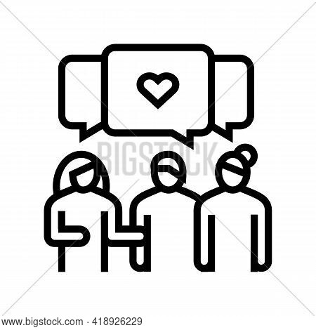 Meeting With Girlfriends Leisure Line Icon Vector. Meeting With Girlfriends Leisure Sign. Isolated C