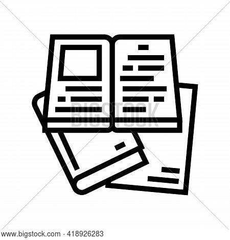 Reading Books Leisure Line Icon Vector. Reading Books Leisure Sign. Isolated Contour Symbol Black Il