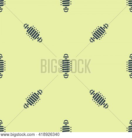Blue Bicycle Suspension Icon Isolated Seamless Pattern On Yellow Background. Vector