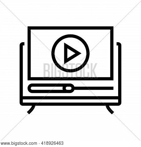 Movies Leisure Line Icon Vector. Movies Leisure Sign. Isolated Contour Symbol Black Illustration