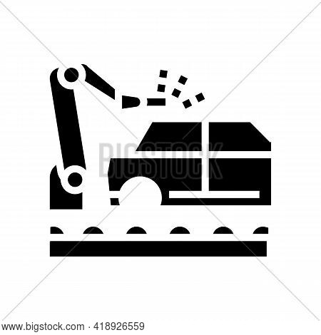 Welding Car Conveyor Glyph Icon Vector. Welding Car Conveyor Sign. Isolated Contour Symbol Black Ill