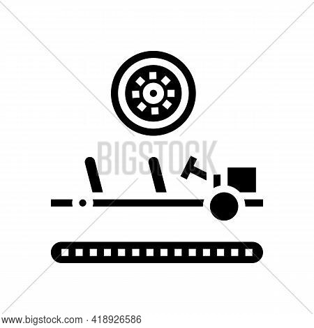 Wheels Installing Car Glyph Icon Vector. Wheels Installing Car Sign. Isolated Contour Symbol Black I