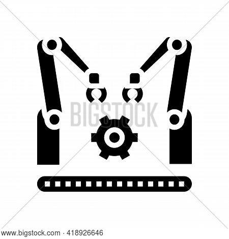 Factory Conveyor Car Glyph Icon Vector. Factory Conveyor Car Sign. Isolated Contour Symbol Black Ill