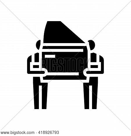 Human Work Car Factory Glyph Icon Vector. Human Work Car Factory Sign. Isolated Contour Symbol Black