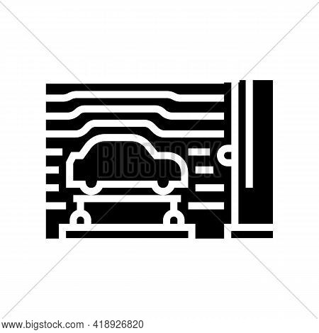 Wind Tunnel Car Glyph Icon Vector. Wind Tunnel Car Sign. Isolated Contour Symbol Black Illustration