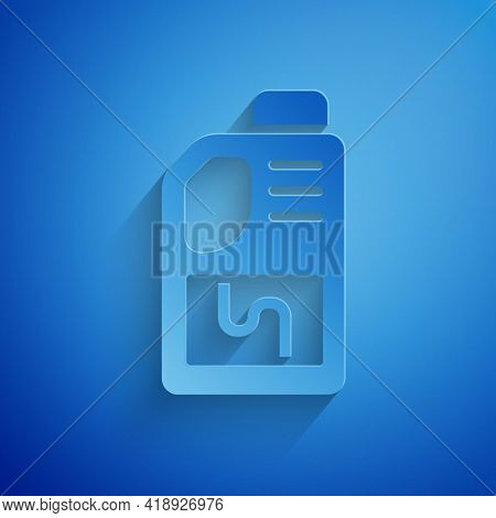 Paper Cut Drain Cleaner Bottle Icon Isolated On Blue Background. Water Pipes Cleaning. Plumbing Repa