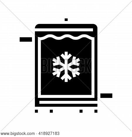 Refrigerator Cheese Production Glyph Icon Vector. Refrigerator Cheese Production Sign. Isolated Cont