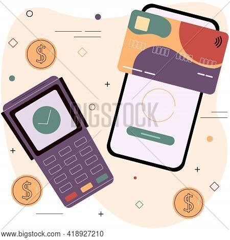 Debit Or Credit Card And Electronic Payment Terminal. Contactless Payment System Concept. Digital Pa