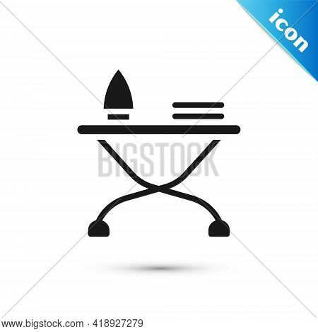 Grey Electric Iron And Ironing Board Icon Isolated On White Background. Steam Iron. Vector