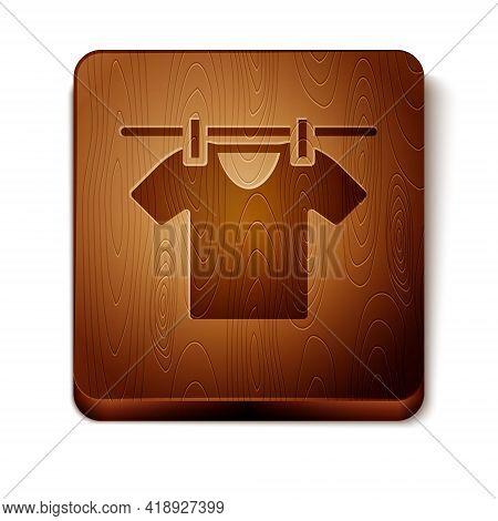 Brown Drying Clothes Icon Isolated On White Background. Clean Shirt. Wash Clothes On A Rope With Clo