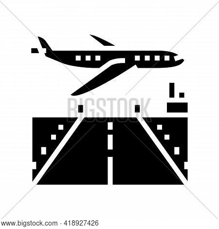 Airport Runway Concrete Glyph Icon Vector. Airport Runway Concrete Sign. Isolated Contour Symbol Bla