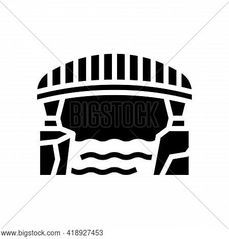 Bridge Concrete Glyph Icon Vector. Bridge Concrete Sign. Isolated Contour Symbol Black Illustration