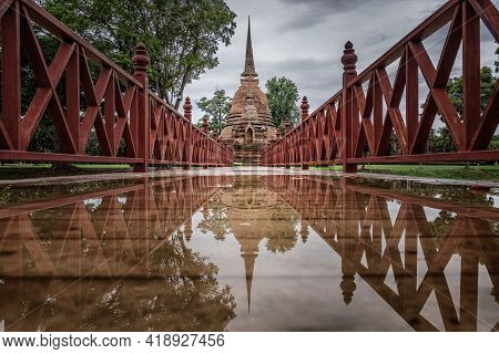 The Scenery Of Wat Sa Si Temple With Reflection In Rainy Day At Sukhothai Province, Thailand.
