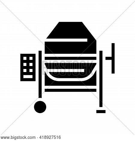 Concrete Production Mixer Glyph Icon Vector. Concrete Production Mixer Sign. Isolated Contour Symbol