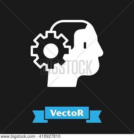 White Humanoid Robot Icon Isolated On Black Background. Artificial Intelligence, Machine Learning, C