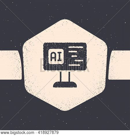 Grunge Software, Web Developer Programming Code Icon Isolated On Grey Background. Javascript Compute